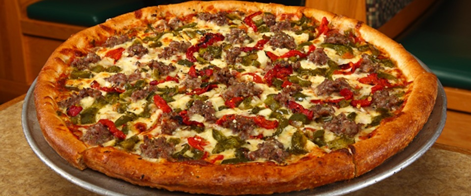 Marino's sausage and peppers pizza